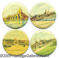 General Historic Events:World Fairs, ST. LOUIS WORLD'S FAIR POCKET MIRRORS - LOT OF 4 DIFFERENT BUILD...