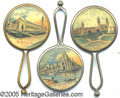 General Historic Events:World Fairs, LOT OF 3 DIFFERENT SCENES HAND-HELD CELLULOID MIRRORS - ST. LOUI...