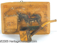 "WOODEN MATCH HOLDER & PIPE - SOUVENIR ST. LOUIS WORLD'S FAIR. P Wooden wall hanger measuring 5""X7-1/2""..."
