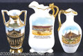 General Historic Events:World Fairs, THREE DIFFERENT BUILDING MINIATURE CERAMIC VASES ST. LOUIS WORLD...