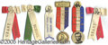 General Historic Events:World Fairs, 6 GRANT SCHOOL PINBACKS-RIBBONS ST. LOUIS WORLD'S FAIR. 6 differ...