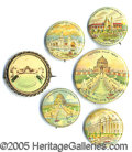 General Historic Events:World Fairs, 6 DIFFERENT PINBACKS FESTIVAL HALL ST. LOUIS WORLD'S FAIR.6&nbs...