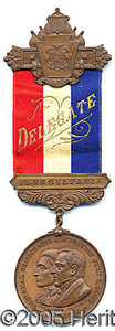 General Historic Events:World Fairs, PA DELEGATE'S BADGE - 1904 DEMOCRATIC NATIONAL CONV. ST. LOUIS. ...