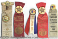 General Historic Events:World Fairs, 5 DIFFERENT ST LOUIS WORLD'S FAIR CELLULOID ATTACHMENTS-RIBBONS....