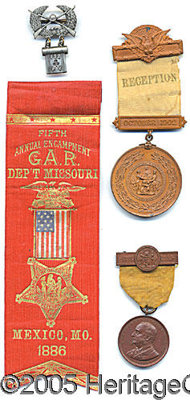 4 DIFFERENT GAR MEDALS/RIBBONS - WASH, DC & MO. P This lot consiste of 4 different GAR related items including A sil...