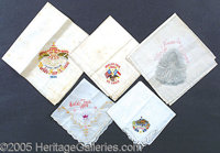 EMBROIDERED HANDKERCHIEFS ST. LOUIS WORLD'S FAIR - LOT OF 5. 5 different embroidered handkerchiefs from the 1904 St. Lou...