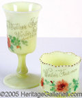 General Historic Events:World Fairs, 2 DIFFERENT ST. LOUIS WORLD'S FAIR CUSTARD GLASS SOUVENIRS. T...