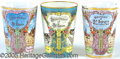 "General Historic Events:World Fairs, 3 MULTI-COLORED TUMBLERS ST. LOUIS WORLD'S FAIR. 3-3/4"" ..."