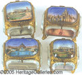 General Historic Events:World Fairs, 4 GLASS JEWELRY BOXES ST. LOUIS WORLD'S FAIR. 4 glass jewelry...