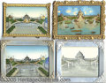 General Historic Events:World Fairs, 4 DIFFERENT CASCADE GARDENS WALL HANGING PICS. ST. LOUIS WORLD'S...
