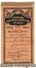 General Historic Events:World Fairs, 1904 ST. LOUIS WORLD'S FAIR MONTHLY PASS BOOKLET & TICKETS.2-3/...