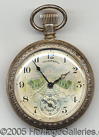 INGERSOLL POCKET WATCH THE CASCADES 1904 WORLD'S FAIR. P Sensational pocket watch with a colorimage of 'The Ca...