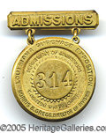 "General Historic Events:World Fairs, ST. LOUIS WORLD'S FAIR ADMISSIONS EMPLOYEES BADGE. 2"" high metal..."