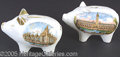 General Historic Events:World Fairs, 2 CHINA PIGS FIGURAL BANKS ST. LOUIS WORLD'S FAIR 1904. Two diff...