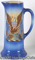 Political:3D & Other Display (1896-present), MAGNIFICENT HUGE PATRIOTIC PITCHER FROM THE WOODROW WILSON WHITE...