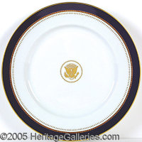 """SCARCE REAGAN OFFICIAL WHITE HOUSE CHINA CHARGER PLATE. P Oversized 12"""" plate, a very elegant blue, white, and gold..."""