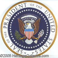 "HUGE PRESIDENTIAL SEAL USED BY RICHARD NIXON. P This mammoth wood piece, 30"" in diameter, features a deeply carved..."