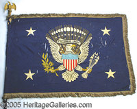 FDR'S PERSONAL PRESIDENTIAL FLAG. P A magnificent and important artifact with wonderful display appeal.  63x45&...