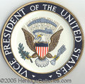 Political:3D & Other Display (1896-present), OFFICIAL VICE PRESIDENTIAL SEAL PODIUM PLACQUE USED BY GEORGE H....