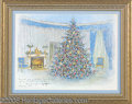 "Political:Posters & Broadsides (1896-present), 1967 LBJ OFFICIAL CHRISTMAS GIFT PRINT. Titled ""The Blue Room..."