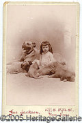 Photography:Cabinet Photos, CABINET PHOTO OF GIRL WITH DOG AND PUPPIES. CABINET CARD OF GIRL...