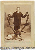 Photography:Cabinet Photos, GREAT WESTERN CABINET CARD OF MAN WITH HUNTING DOGS. GREAT WESTE...