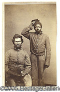 "Antiques:Black Americana, PHOTO OF TWO BLACK CONTRABAN ""UNION"" SOLDIERS. An unusual cdv si..."