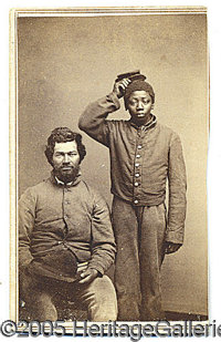 """PHOTO OF TWO BLACK CONTRABAN """"UNION"""" SOLDIERS. An unusual cdv sized photo of two men, one black and the other..."""