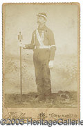 Photography:Cabinet Photos, SPANISH AMERICAN WAR SOLDIER IN UNIFORM WITH PARADE TORCH. Inter...