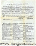 Books:Pamphlets & Tracts, IMPORTANT ANTI-SLAVERY FLYER. August 30, 1856, Anti-Slavery C...