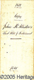 Antiques:Black Americana, 1839 LAST WILL FREEING SLAVES IN MARYLAND. The Last Will and TEs...