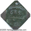 "Antiques:Black Americana, 1839-DATED CHARLESTON SLAVE TAG, ""PORTER"". Moderate surface gran..."