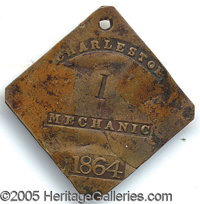 """1864-DATED CHARLESTON SLAVE TAG, """"MECHANIC"""". Another of the premier pieces in this """"collection"""". Not..."""