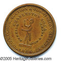 Antiques:Black Americana, SLAVE TRADER MERCHANT TOKEN. 27 mm. copper. Obv. Depicts a stand...