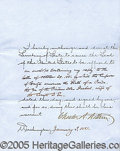 Autographs:U.S. Presidents, CHESTER ALAN ARTHUR SIGNED DOCUMENT. Arthur,...