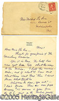 Autographs:Authors, GREAT WESTERN-CONTENT, HANDWRITTEN LETTER BY FAMED WESTERN AUTHO...
