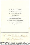 Political:Small Paper (1896-present), PRES. WILSON ENGRAVENED INVATION TO DAUGHTER WEDDING. Beautif...