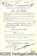 Autographs:Non-American, MUSSOLINI AND VICTOR EMANUELE III SIGNED DOCUMENT.
