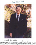 Autographs:U.S. Presidents, REAGAN SIGNED PORTRAIT. Reagan, Ronald (b. 1913- ) Fortieth p...