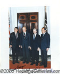 "Autographs:U.S. Presidents, FOUR PRESIDENTS SIGNED PHOTO. 8 x 10"" color portrait of the f..."