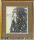 "Western Expansion:Indian Artifacts, SCARCE 8 X 10"" AUTOGRAPHED PHOTO OF SIOUX CHIEF WHITE EAGLE. ..."