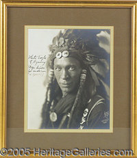 """SCARCE 8 X 10"""" AUTOGRAPHED PHOTO OF SIOUX CHIEF WHITE EAGLE. P Elegant 8 x 10"""" silver gelatin photo, 1924 date..."""