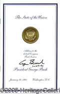 Autographs:U.S. Presidents, GEORGE H. W. BUSH SIGNED STATE OF THE UNION MESSAGE.