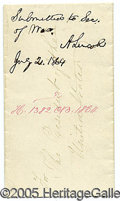 Autographs:U.S. Presidents, ABRAHAM LINCOLN SIGNED NOTE AS PRESIDENT, IN AN APPEALING FORMAT...