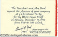Autographs:U.S. Presidents, GERALD FORD SIGNED CHRISTMAS PARTY INVITATION. Invitation for a ...