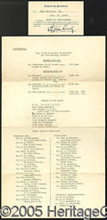 Political:Small Paper (1896-present), FDR WARM SPRINGS TRIP ITINERARY AND I.D. CARD. Interesting Novem...