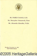 Entertainment Collectibles:Music, PABLO CASALS WHITE HOUSE PROGRAM. The Kennedys were celebrated a...