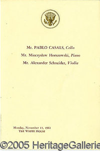 """PABLO CASALS WHITE HOUSE PROGRAM. The Kennedys were celebrated as patrons of the arts. This 4 x 6"""" progra..."""