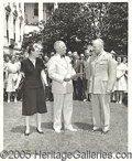 "Political:Miscellaneous Political, TRUMAN, IKE AND MAMIE PRESS PHOTO. 8 x 10"" black and white press..."