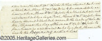 "LENGTHY EXAMPLE OF GEORGE WASHINGTON'S HANDWRITING (UNSIGNED). Fine 9 x 3 1/2"" piece, with 8 lines of surveyor's do..."